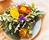 Plate of flowers as table decoration