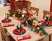Laid table with Father Christmas decoration