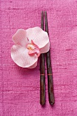 Chopsticks and orchid on pink fabric
