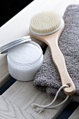 Salt scrub and a back brush