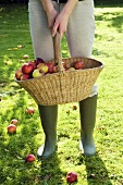 A woman holding a basket of apples