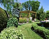 A gazebo in a garden