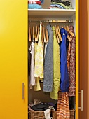Clothes in a closet