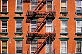An apartment building with a fire escape
