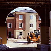 A fork lift truck on a construction site