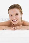 A woman having a bath