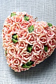 Heart made of roses (table decoration for Valentine's Day)