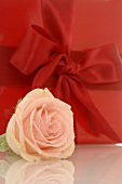 Gift in red wrapping paper with ribbon and rose (detail)