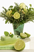 Bouquet of herbs and lime slices for wellness