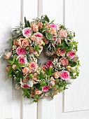 Door wreath of roses, lavender and sage