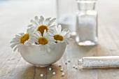 Homeopathic remedy (globuli) and chamomile flowers