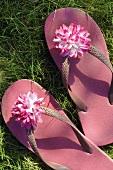Rosa Flip-Flops mit Blüte im Gras