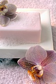 Soap with lather in a soap dish, orchids