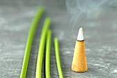 An incense cone and papryus sedge stalks