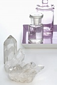 Quartz crystals and apothecary bottles