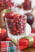 Christmas decoration with cranberries, Christmas gifts
