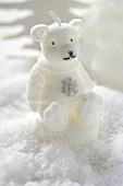 Christmas decoration: polar bear in snow