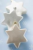 White stars to hang on the Christmas tree