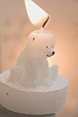 Polar bear candle, lit