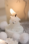 Christmas decoration: polar bear candle and windlight