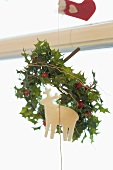 Christmas window decoration (holly and reindeer)