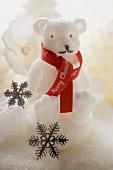 Polar bear candle with ribbon