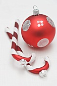 Red & silver Christmas tree ornaments (bauble, candy canes)