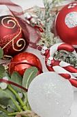 Christmas tree ornaments and mistletoe