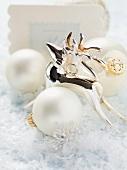 Reindeer, Christmas baubles and Christmas card