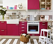 Modern kitchen with pink units