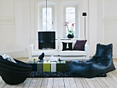 Seating furniture and table in sitting room (Sweden)