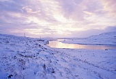 Winter landscape with river, Iceland