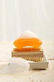 Soap on nailbrush