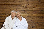 Germany, Senior couple wearing bath robes