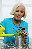 Senior woman watering houseplant, close-up