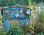 Watering cans hanging on a summer house (autumn)