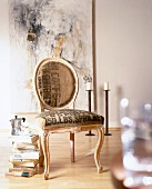 Baroque chair upholstered in coffee sack printed with letters