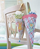 Homemade decorative fabric bags for Easter eggs