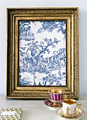 Picture frame with rural, French, toile de jouy motif