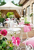 Metal garden furniture on terrace