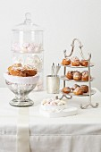 Cakes and sweets on a white wedding table