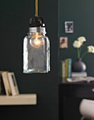 Nostalgic pendant lamp upcycled from preserving jar