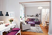 Interior in shades of lilac with dining area & lounge