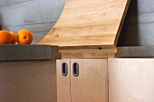 Detail of a hallway with an open folding counter on the counter top