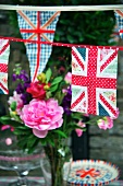 British flags and bunting as decorations for a garden party