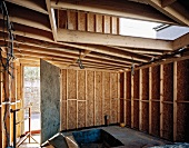 Interior view of wood home construction