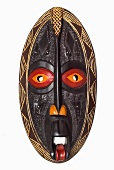 Painted Wooden African Mask; White Background