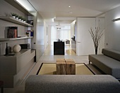 Light gray living room suite in a modern living room and open kitchen with free standing kitchen unit