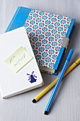 Note books with sticker and felt pens