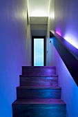Stairway with wooden steps illuminated in coloured light looking towards a glass interior door